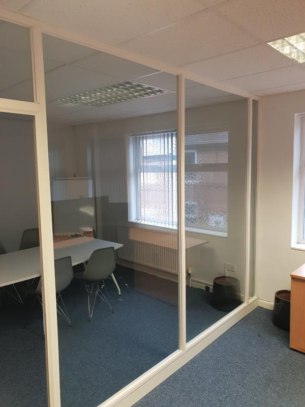 wooden frame glass partitions