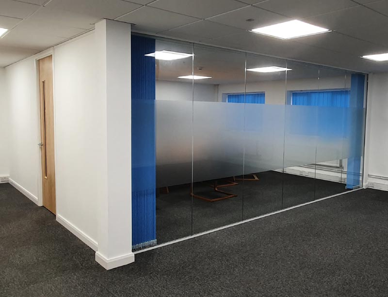 full glass partitions